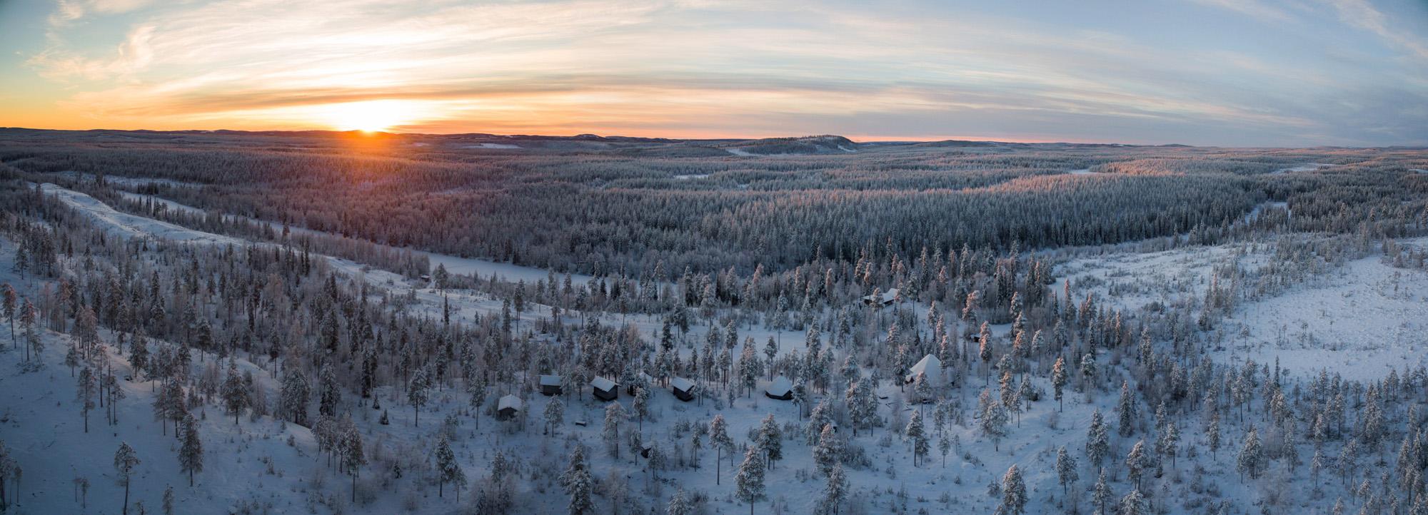 Svansele Wilderness Camp Winter aerial 01